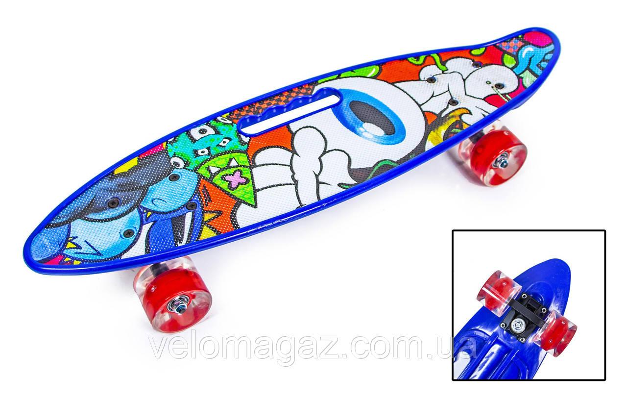 """Пенниборд 22"""" с ручкой """"EYE"""" с красными светящимися колесами"""