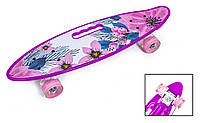 """Пенниборд 22"""" с ручкой """"VIOLET FLOWERS"""" с розовыми светящимися колесами"""