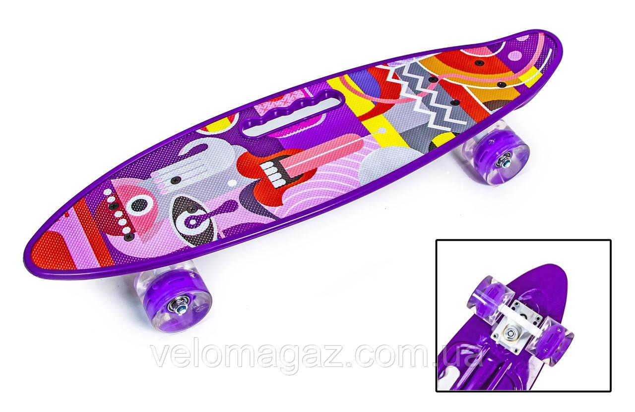 """Пенниборд 22"""" з ручкою """"PICASSO"""" з фіолетовими світяться колесами"""
