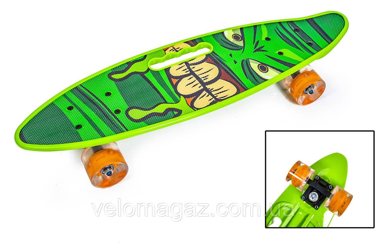 """Пенниборд 22"""" с ручкой """"HULK"""" с оранжевыми светящимися колесами"""