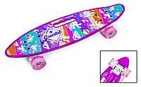 """Пенниборд 22"""" с ручкой """"PONY"""" с розовыми светящимися колесами"""