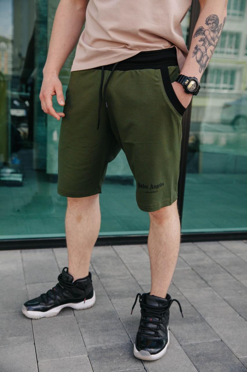Чоловічі літні спортивні шорти до коліна зручні стильні на зав'язках і гумки в кольорі хакі