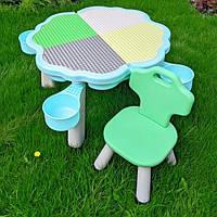 Столик и стульчик детский YG2020-3-4. Розовый/зеленый стул. Пластиковый детский стол и стул