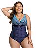 Жіночі відрядні купальники великих розмірів 48 - 56 Laima синій з принтом блакитний