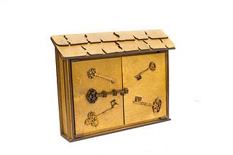"""Подарунковий дерев'яний сувенірний набір """"Настінна Ключниця Велика Вінтаж"""" ручної роботи"""