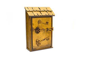 """Подарунковий дерев'яний сувенірний набір """"Настінна Ключниця Маленька"""" ручної роботи"""