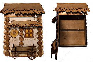 """Подарочный деревянный сувенирный набор """"Настенная Ключница с подводой Маленькая"""" ручной работы"""