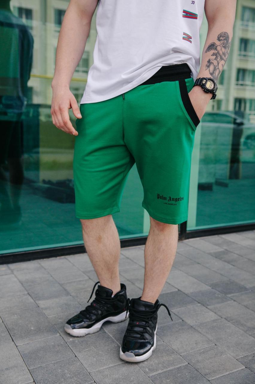 Мужские шорты до колена спортивные молодежные летние хлопковые с надписью зеленого цвета