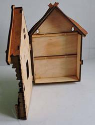 """Подарунковий дерев'яний сувенірний набір """"Настінна Ключниця Будинок маленький"""" ручної роботи"""