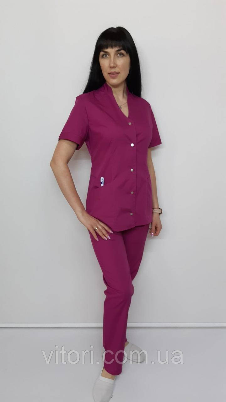 Жіночий медичний халат Ліза коттон три чверті рукав