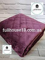 Покрывало бордовое 240*260 см велюровое евро макси на кровать и диван