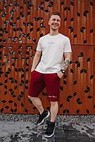 Мужской летний молодежный костюм спортивный белая футболка и бордовые шорты с надписью