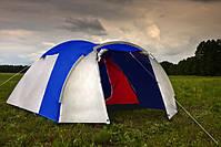 Туристическая палатка 4-х местная Monsun Pro 4, клеенные швы, синяя, фото 5