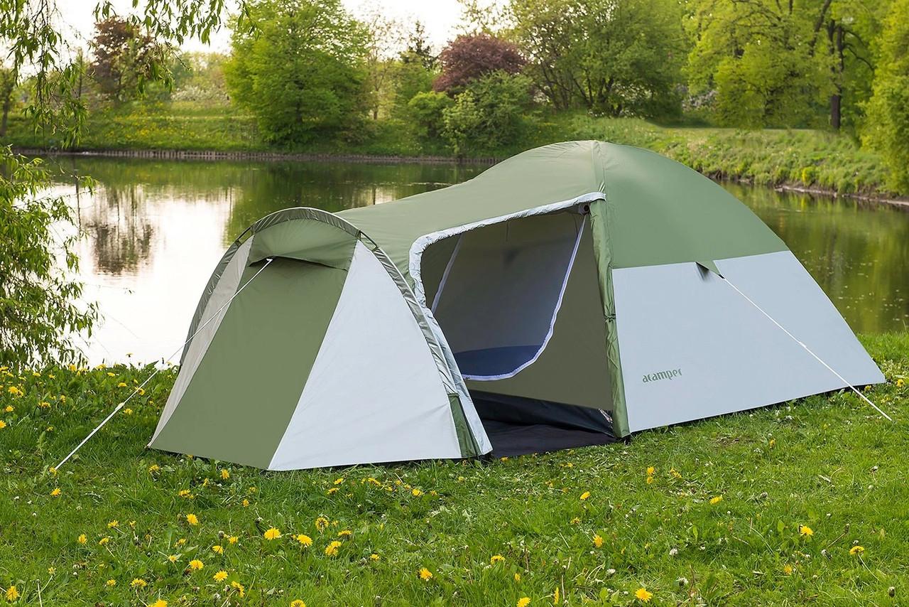 Туристическая палатка 4-х местная Monsun Pro 4, клеенные швы, зеленая