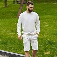 Спортивный костюм мужской свитшот и шорты Boss   Комплект белый летний ЛЮКС качества