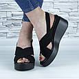 Босоніжки чорні жіночі еко замша з відкритою п'ятою і відкритим носком (b-684), фото 2