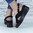 Босоножки черные женские эко замша с открытой пяткой и открытым носком (b-684), фото 10