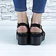 Босоніжки чорні жіночі еко замша з відкритою п'ятою і відкритим носком (b-684), фото 9