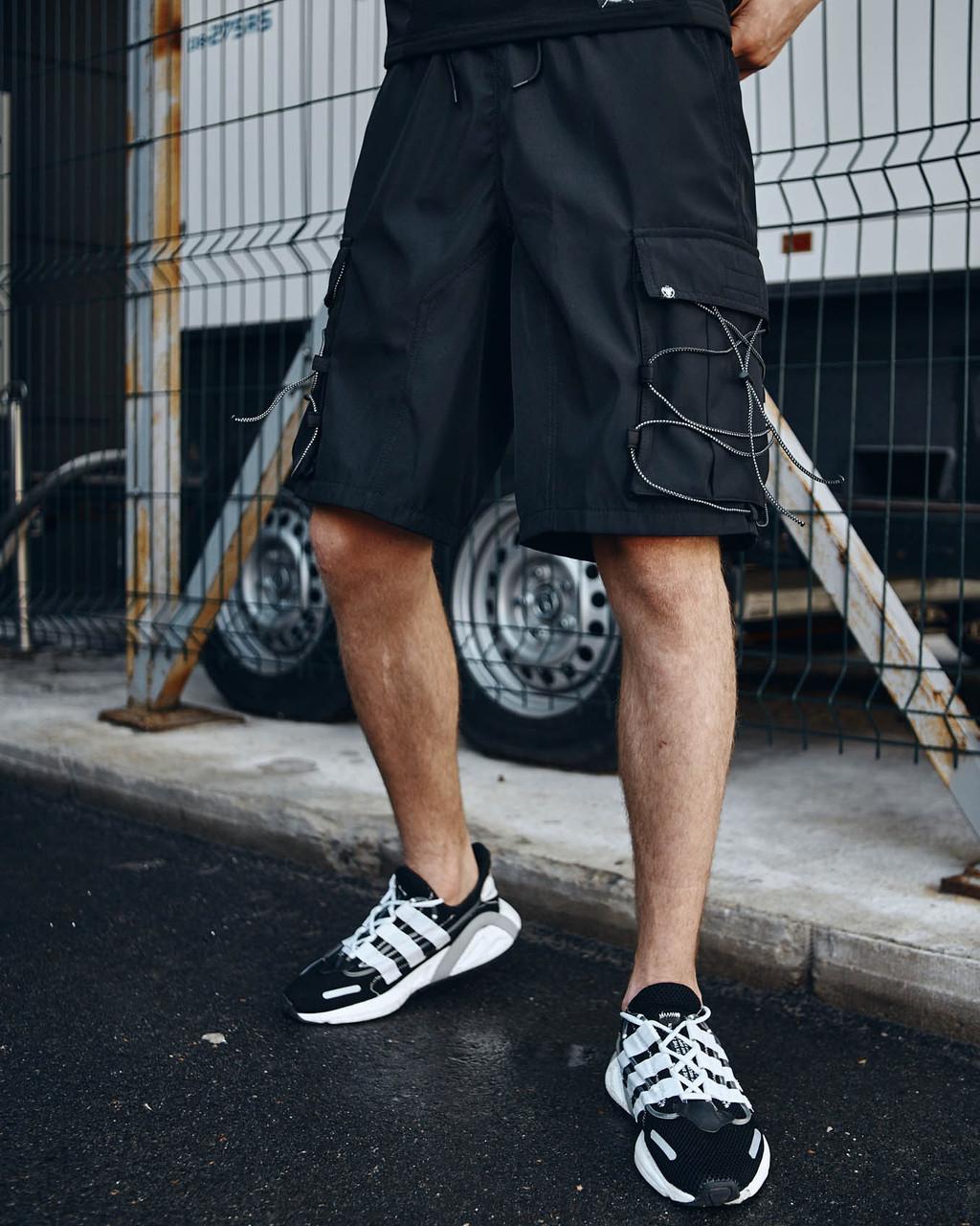 Шорти карго чорні чоловічі рефлективным шнуром Мейсон (Mason) від бренду ТУР розмір S, M, L, XL,XXL L