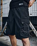 Шорти карго чорні чоловічі рефлективным шнуром Мейсон (Mason) від бренду ТУР розмір S, M, L, XL,XXL L, фото 2