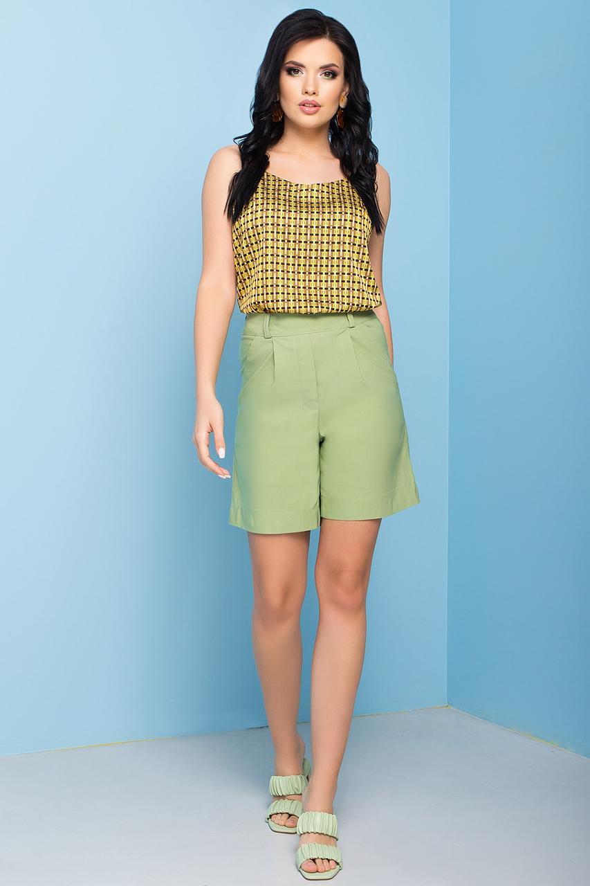 Зручні літні шорти прямого силуету, бавовняні, на еластичній стрічці. Зелені