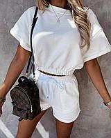 Женский летний костюм-двойка Топ-футболка и шорты на высокой посадке, фото 1