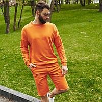 Спортивный костюм мужской свитшот и шорты Boss   Комплект оранжевый летний ЛЮКС качества
