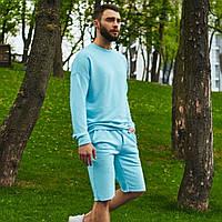 Спортивный костюм мужской свитшот и шорты Boss   Комплект голубой летний ЛЮКС качества