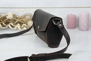 Сумка женская. Кожаная сумочка, Ромбик Винтажная кожа, цвет Шоколад, фото 3