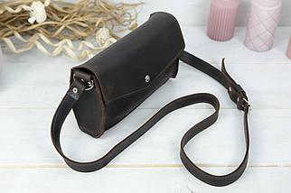 Сумка женская. Кожаная сумочка, Ромбик Винтажная кожа, цвет Шоколад, фото 2
