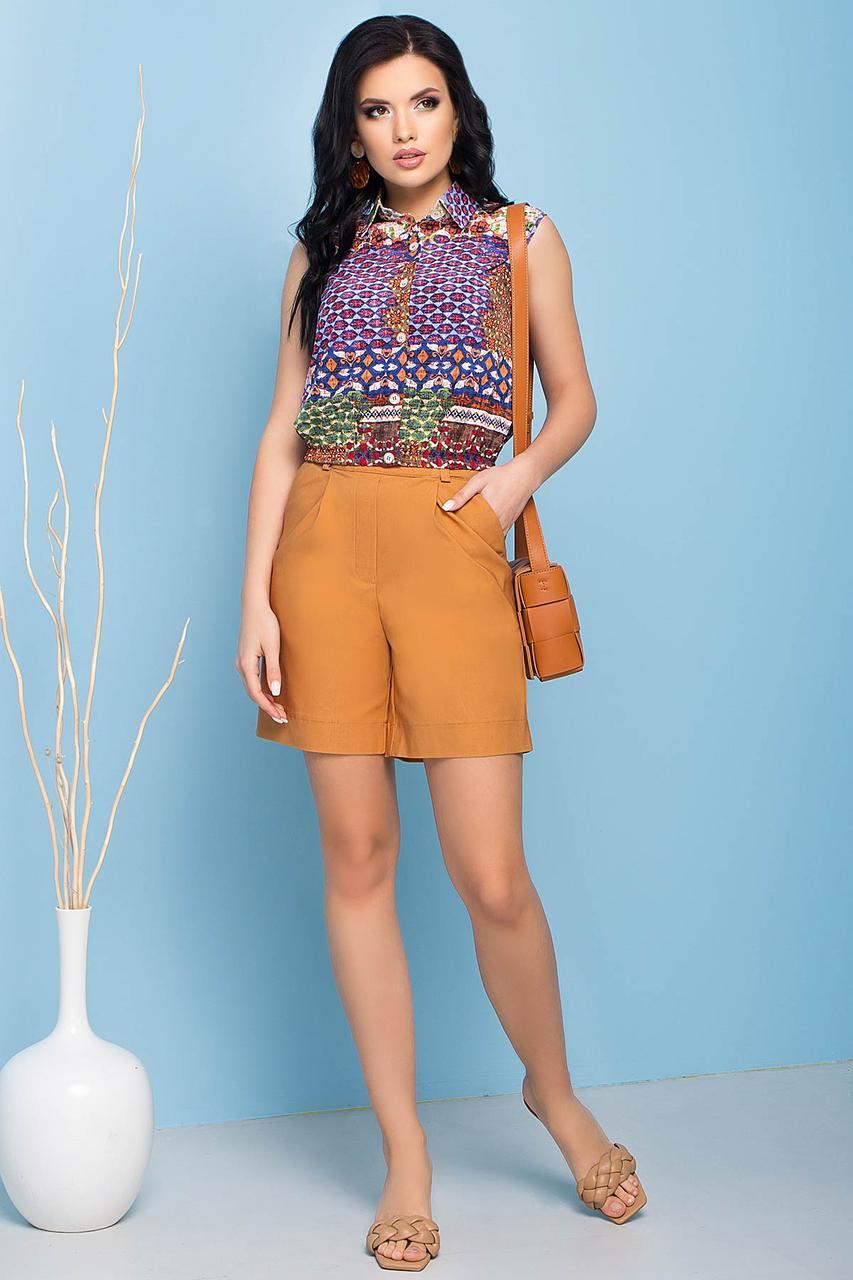 Зручні літні шорти прямого силуету, бавовняні, на еластичній стрічці. Пісочного кольору