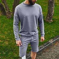 Спортивный костюм мужской свитшот и шорты Boss   Комплект фиолетовый летний ЛЮКС качества