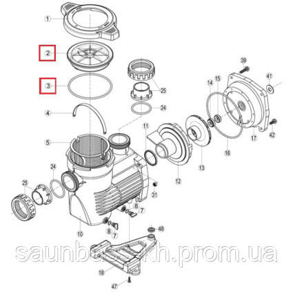 Крышка префильтра с уплотнительным кольцом для насосов Hayward K-FLO (RPUM0002.10R)