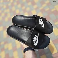 Женские тапки Найк. Шлепанцы черного цвета Найк на лето Женские шлепки Nike черные с белым