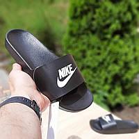 Женские тапки Найк. Шлепанцы черного цвета Найк на лето Женские шлепки Nike черные с белым 39