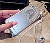 Прозрачный силиконовый зайчик складные уши со стразами для iPhone 6/6S