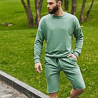 Спортивный костюм мужской свитшот и шорты Boss   Комплект зеленый летний ЛЮКС качества