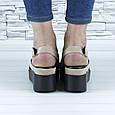 Босоножки женские бежевые эко замша с открытой пяткой и открытым носком (b-685), фото 5