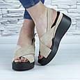 Босоножки женские бежевые эко замша с открытой пяткой и открытым носком (b-685), фото 6