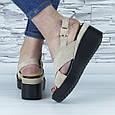 Босоножки женские бежевые эко замша с открытой пяткой и открытым носком (b-685), фото 9