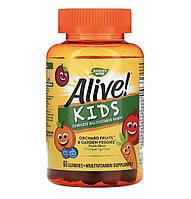Nature's way Alive! Комплект мультивитаминов для детей, вишня, апельсин и виноград, 60 шт, фото 1