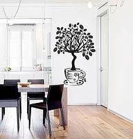 Вінілова наклейка на стіну Кавове дерево (дерево з листочками зернами кави в горщику) матова 670х1000 мм