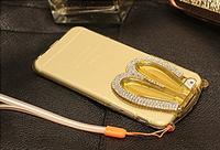 Золотой силиконовый зайчик складные уши со стразами для iPhone 6/6S
