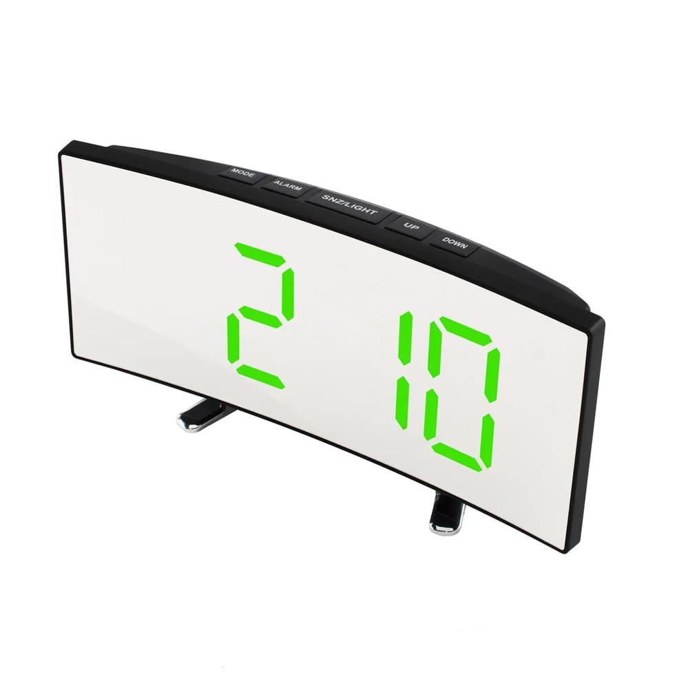 Електронний дзеркальний настільний LED годинник DT-6507 з лед підсвічуванням будильником та термометром