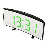 Електронний дзеркальний настільний LED годинник DT-6507 з лед підсвічуванням будильником та термометром, фото 2