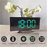 Електронний дзеркальний настільний LED годинник DT-6507 з лед підсвічуванням будильником та термометром, фото 5