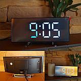 Електронний дзеркальний настільний LED годинник DT-6507 з лед підсвічуванням будильником та термометром, фото 8