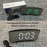Електронний дзеркальний настільний LED годинник DT-6507 з лед підсвічуванням будильником та термометром, фото 10