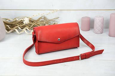 Сумка женская. Кожаная сумочка Ромбик Кожа Итальянский краст цвет Красный