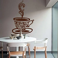 Вінілова наклейка Чашка кави Мандала (індійські візерунки кавовий декор кухні кафе) матова 645х970 мм